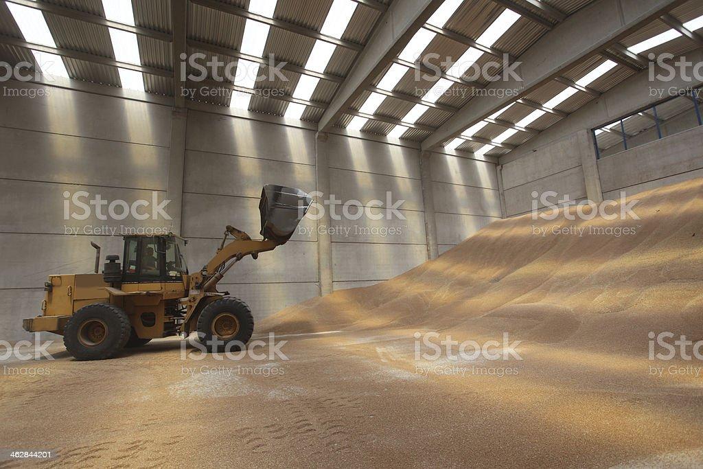 bulldozer, silo, yellow, warehouse, heavy industry stock photo
