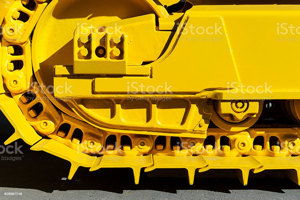 Bulldozer tracks detail stock photo