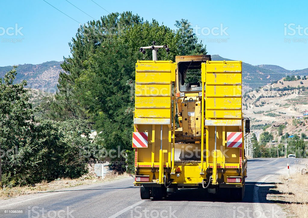 Bulldozer Transport stock photo
