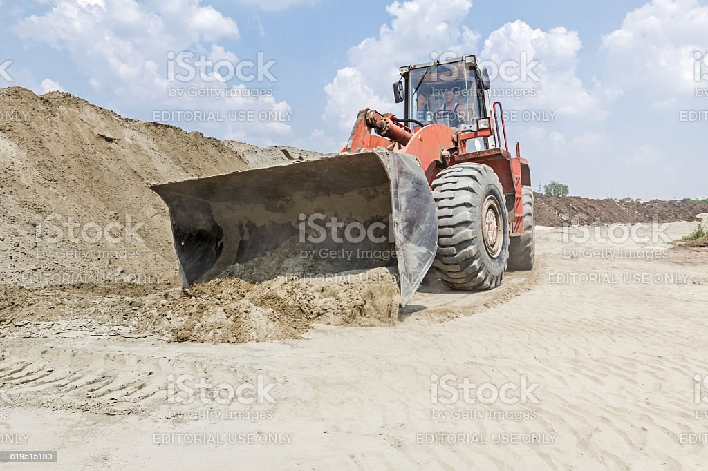 Bulldozer, view on front end loader stock photo