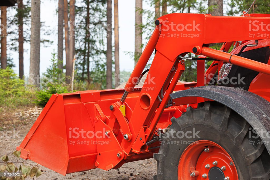 Bulldozer with bucket stock photo