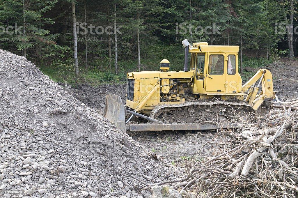 Bulldozer working stock photo