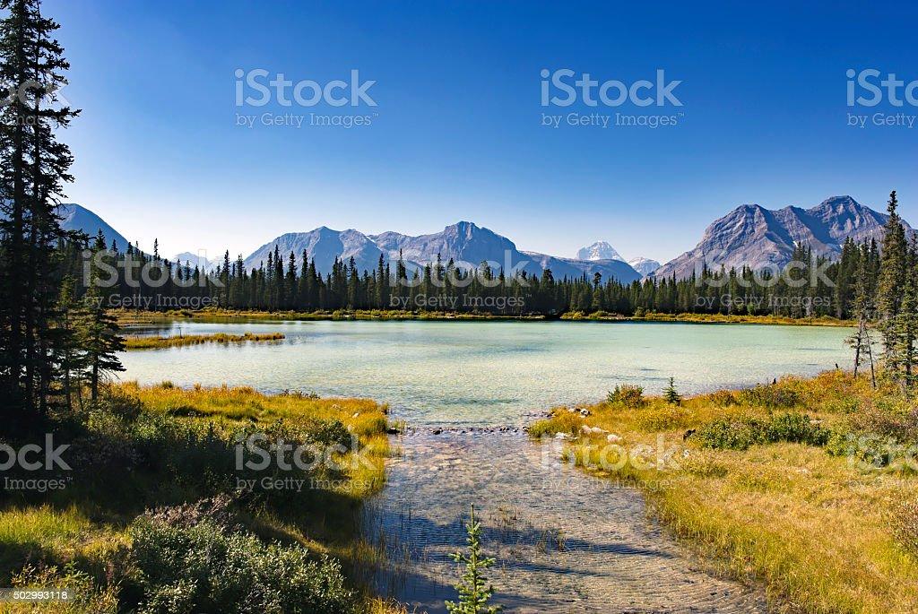 Buller Pond, Kananaskis Country,Alberta,Canada stock photo