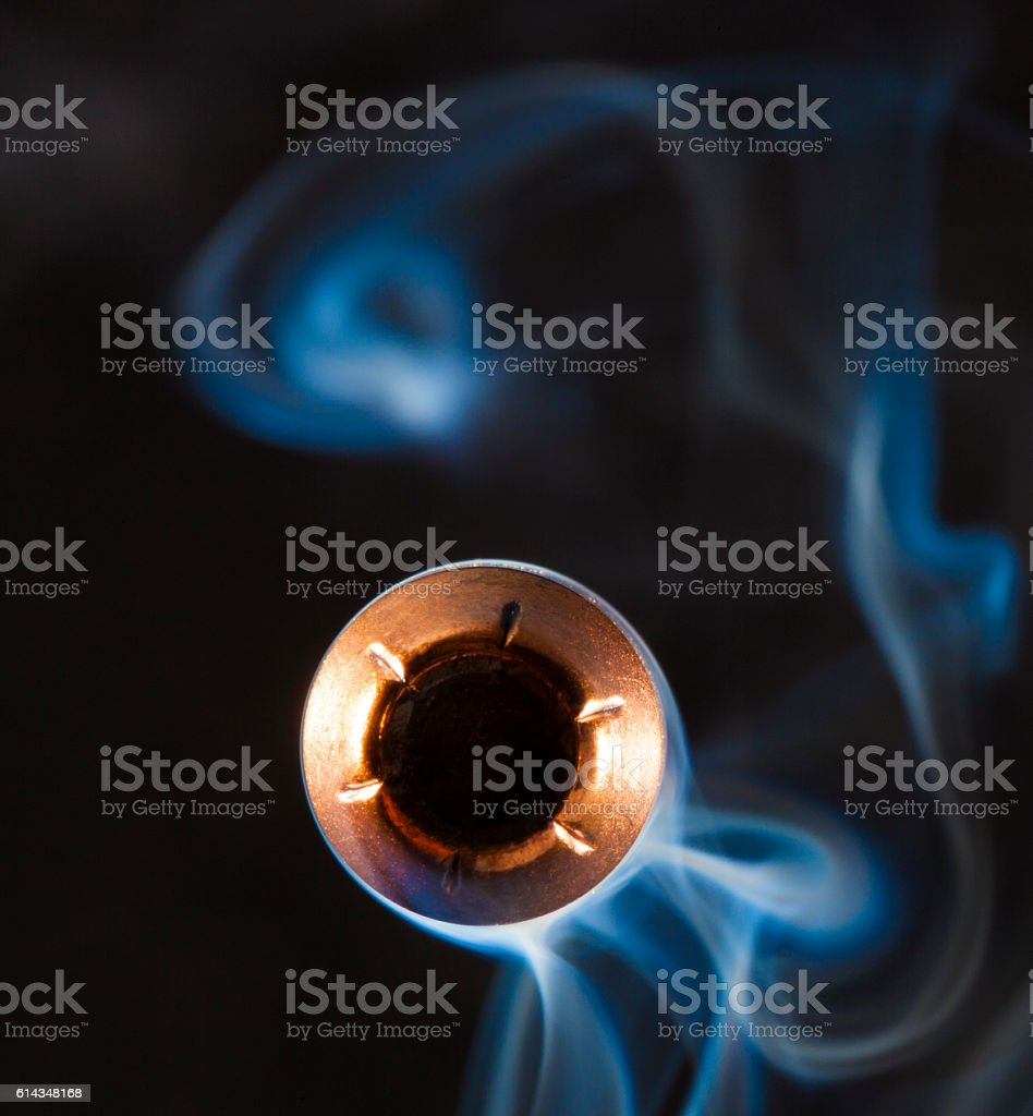 Bullet approaching stock photo