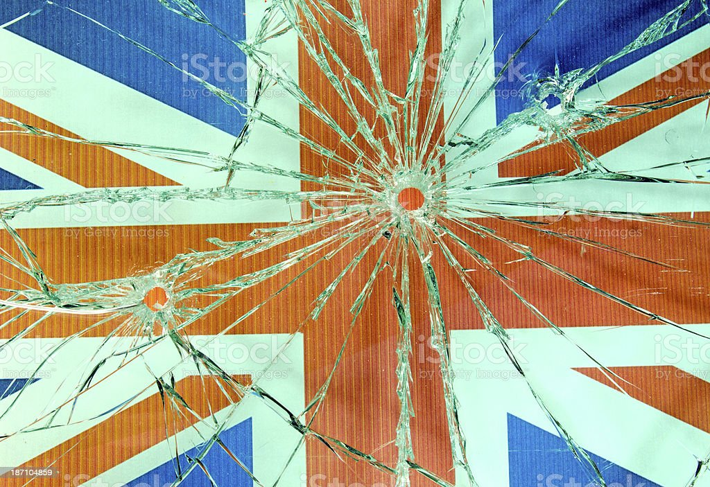 Bullet Hole Glass and British Flag royalty-free stock photo