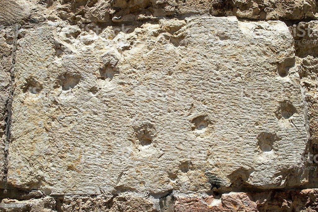 bullet hole in jerusalem stock photo