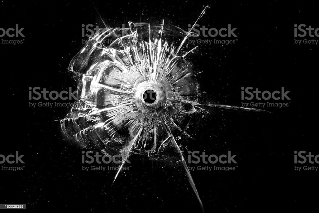 Bullet Hole on Glass royalty-free stock photo