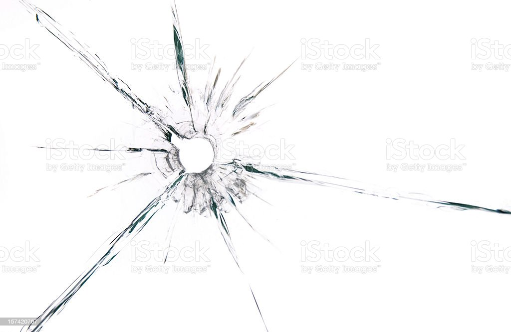 bullet hole in glass on white background