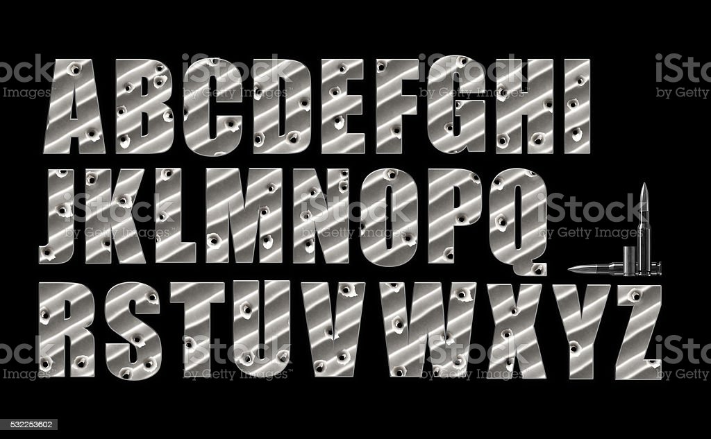 Bullet Holes alphabet set on black with clipping path included. stock photo