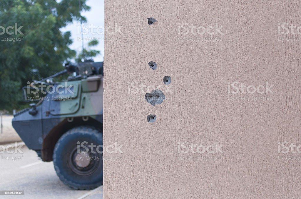 Bullet holes and tank royalty-free stock photo