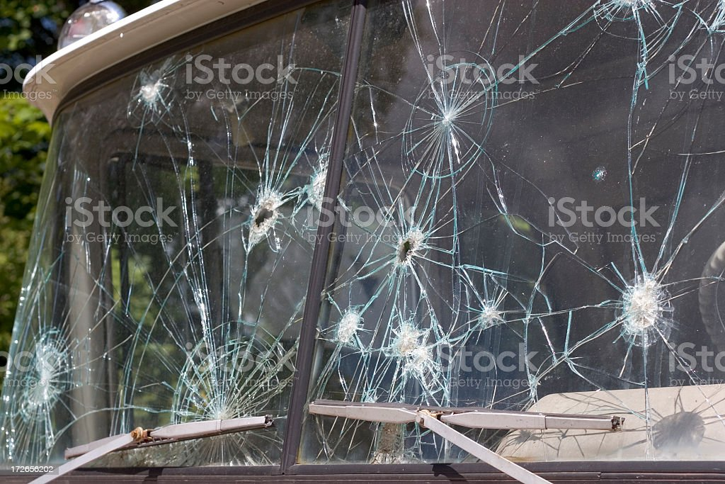 Bullet Holes in Windshield royalty-free stock photo
