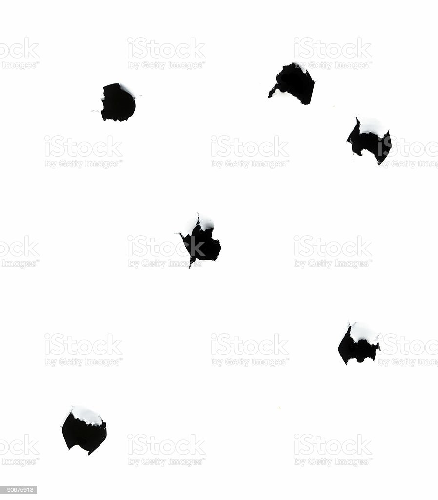 Bullet Holes on White Background - Introverted stock photo