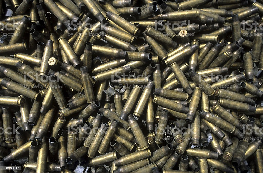 Bullet shells in a pile royalty-free stock photo
