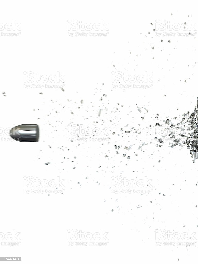 bullet shoot trough glas stock photo