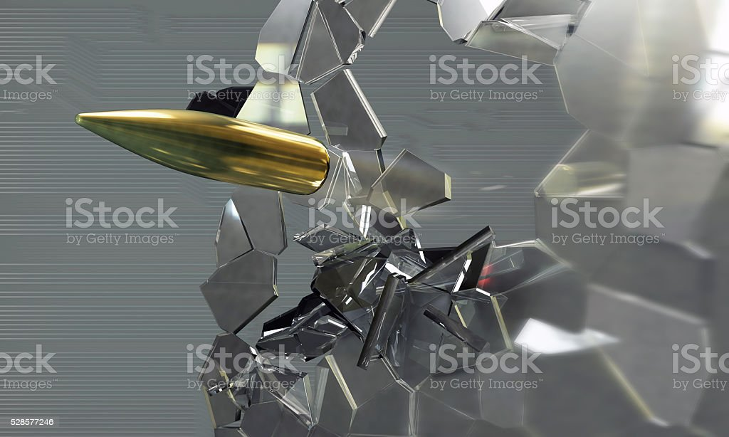 Bullet shot smashed the glass in the splinters stock photo