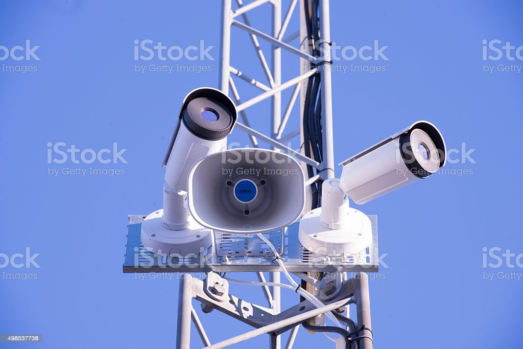 Bullet style thermal surveillance cameras stock photo
