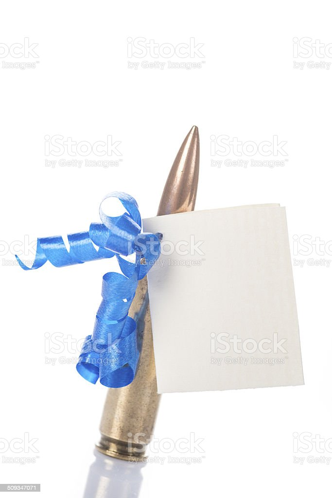 Bullet with a card isolated on a white background stock photo