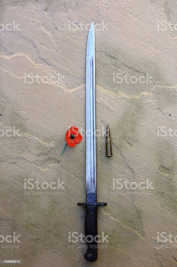 Bullet,Bayonet,Poppy stock photo