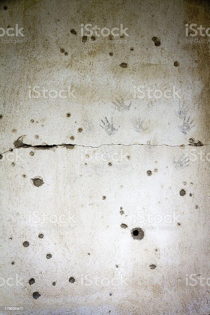 Bullethole hands stock photo
