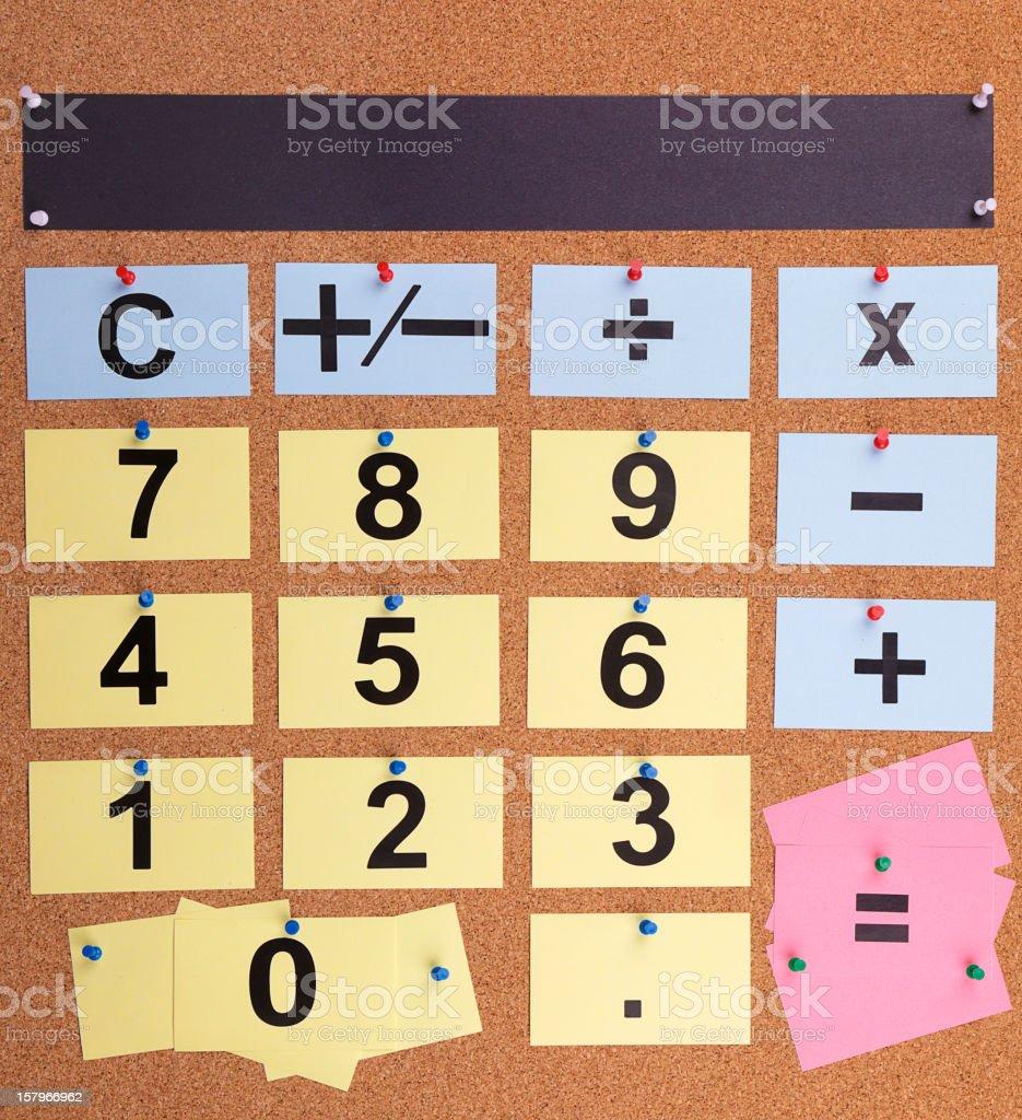 Bulletin Board Calculator stock photo