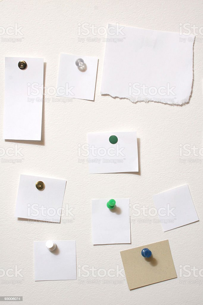 Bulletin Board with Blank Notes royalty-free stock photo