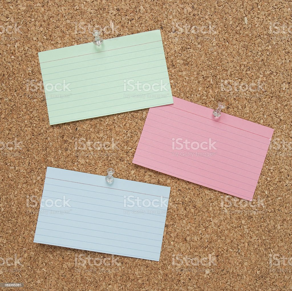 Bulletin Board with Index Cards royalty-free stock photo