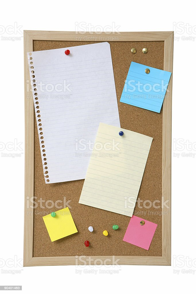 Bulletin Board with Paper royalty-free stock photo