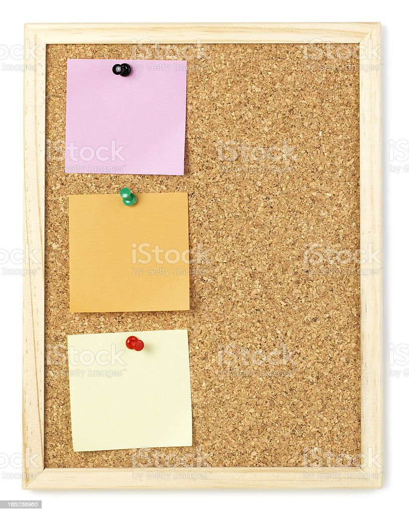 bulletin with post-it isolated on white royalty-free stock photo