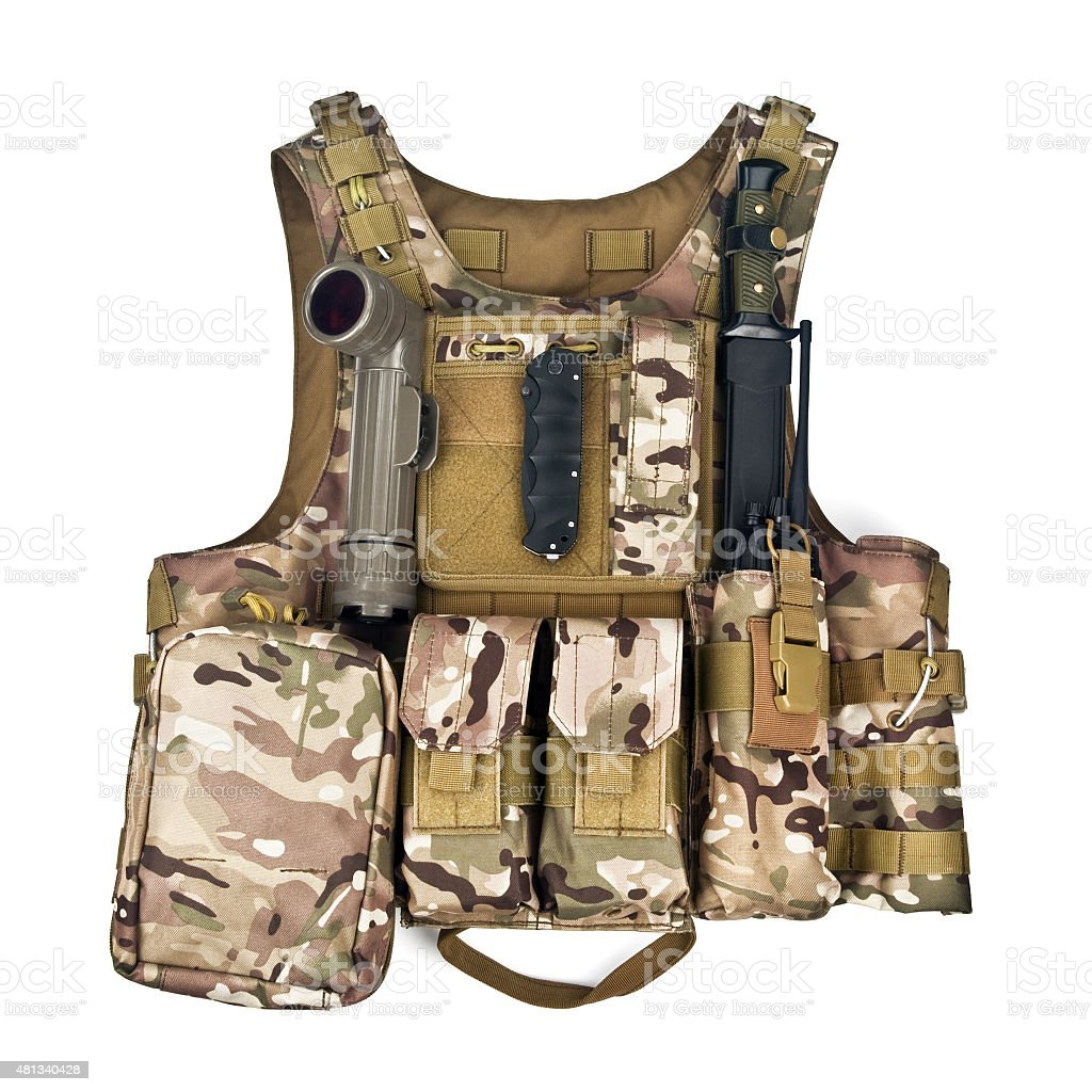 bulletproof vest isolated on a white background stock photo