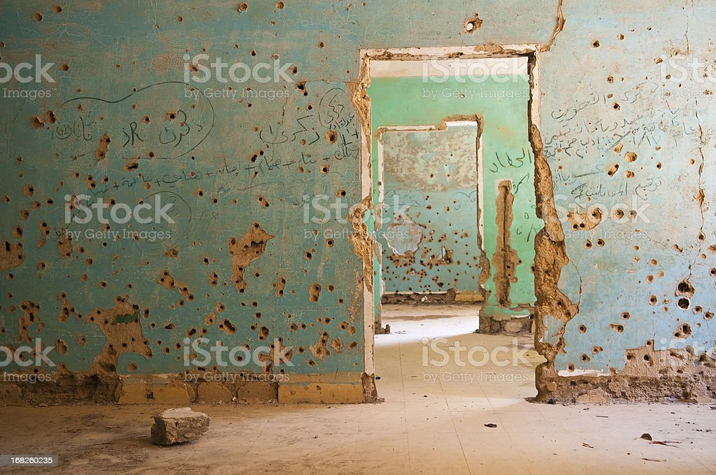 Bullet-riddled rooms in Quneitra, Syria stock photo