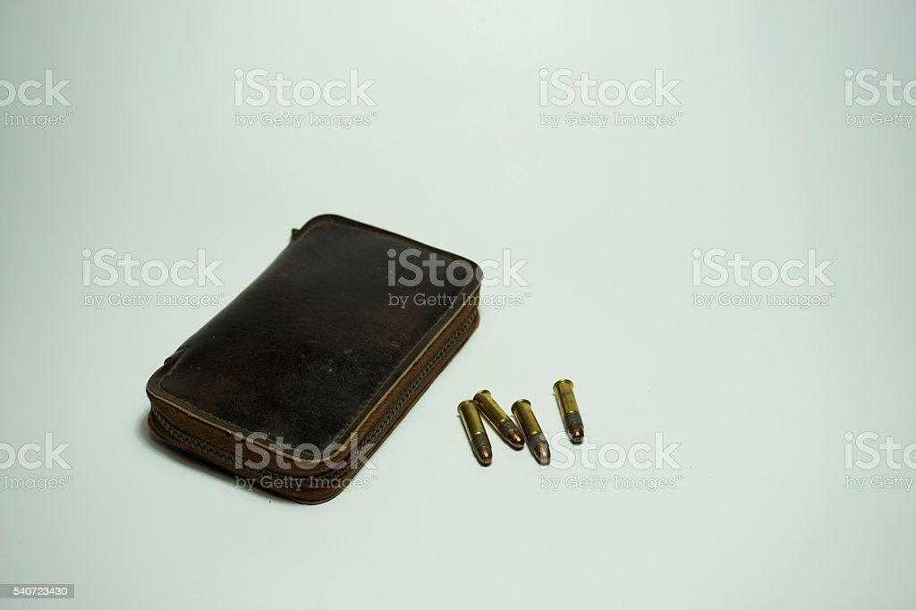 bullets .22 mm with a leather case stock photo