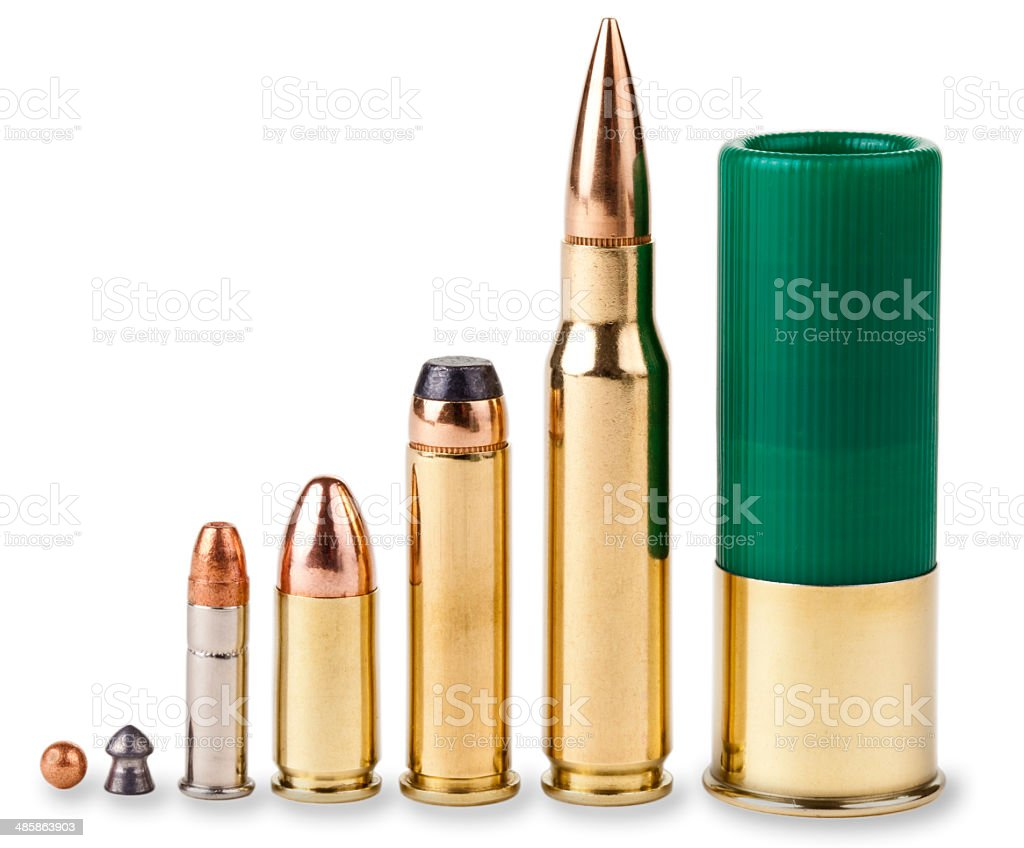 Bullets, BB, 22, 9 MM, 357, 30 Caliber, 12Ga. Shell stock photo