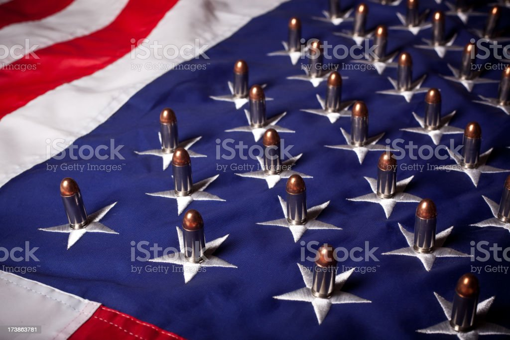 Bullets on flag (horizontal) royalty-free stock photo