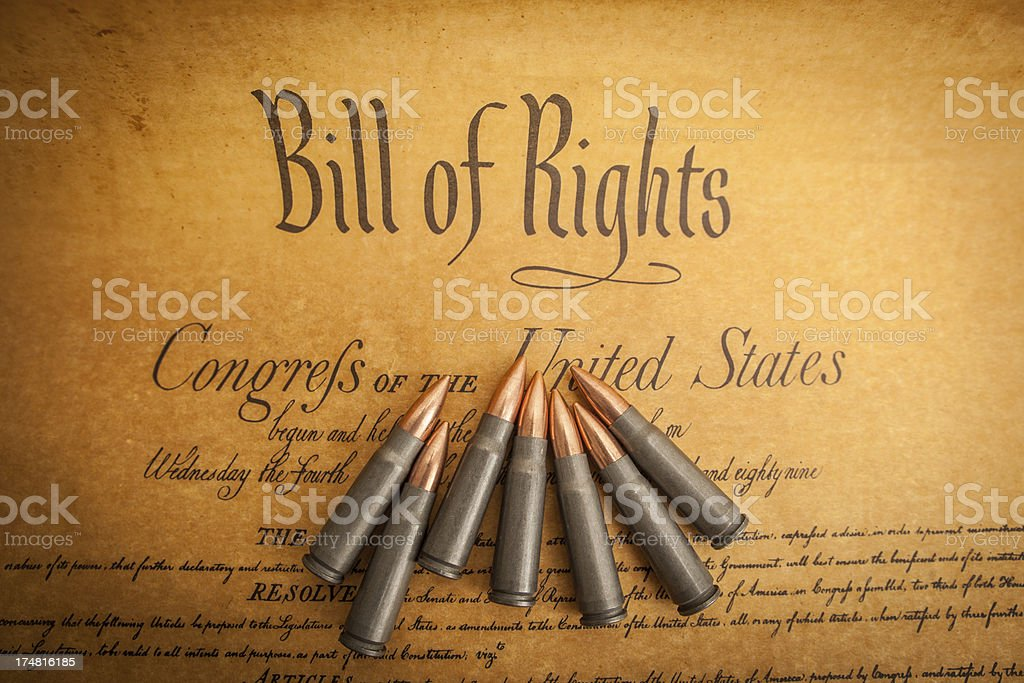 Bullets on The Bill of Rights, Right to Bear Arms stock photo