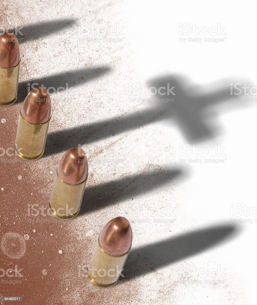 Bullets shadows with cross royalty-free stock photo