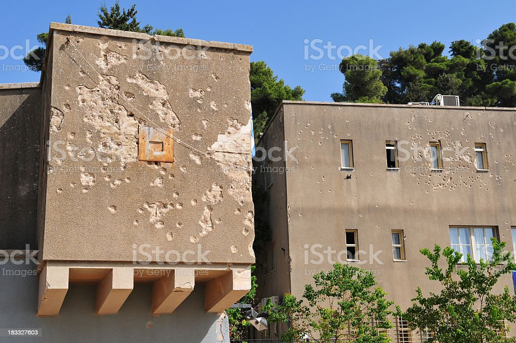Bullet-scarred building in Israel in Safed, Israel stock photo