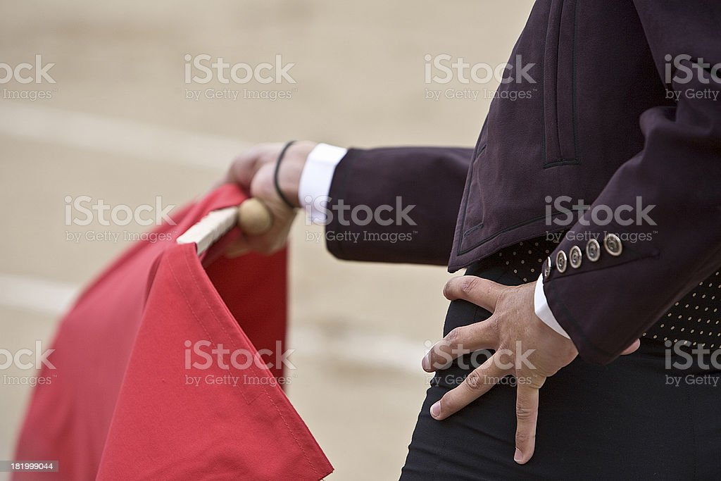 Bullfighter with the Cape in Bullfight, Spain stock photo