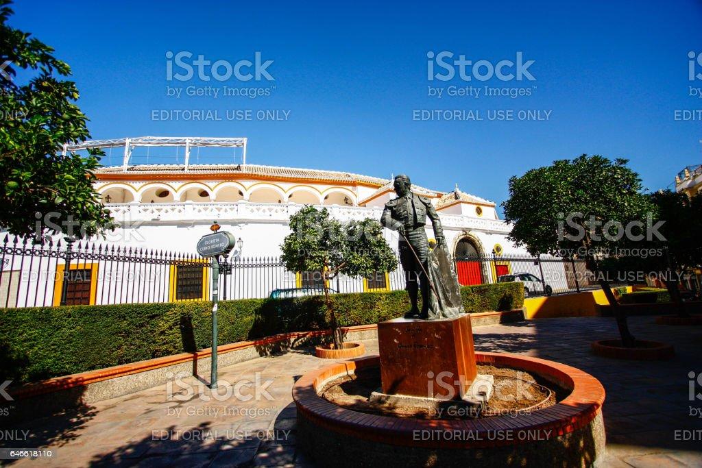 Bullfighting arena plaza de toros in Sevilla stock photo