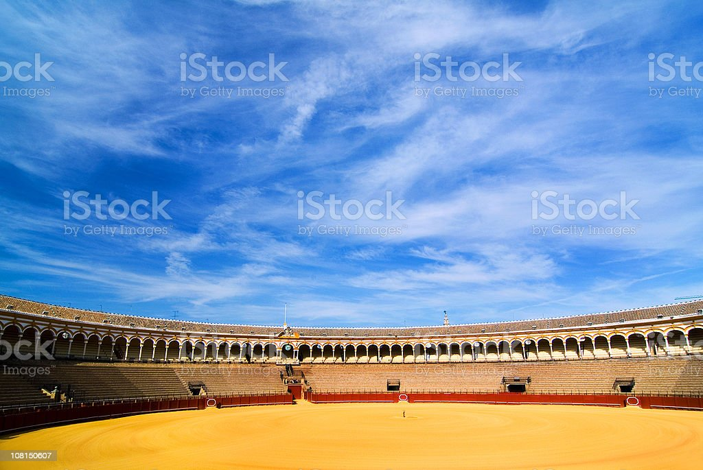 Bullfighting Arena with Blue Sky royalty-free stock photo
