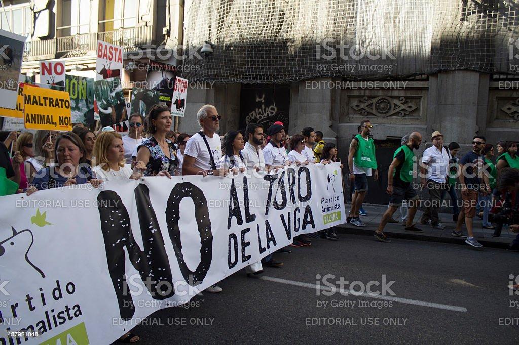 Bullfighting protest against toro de la vega stock photo