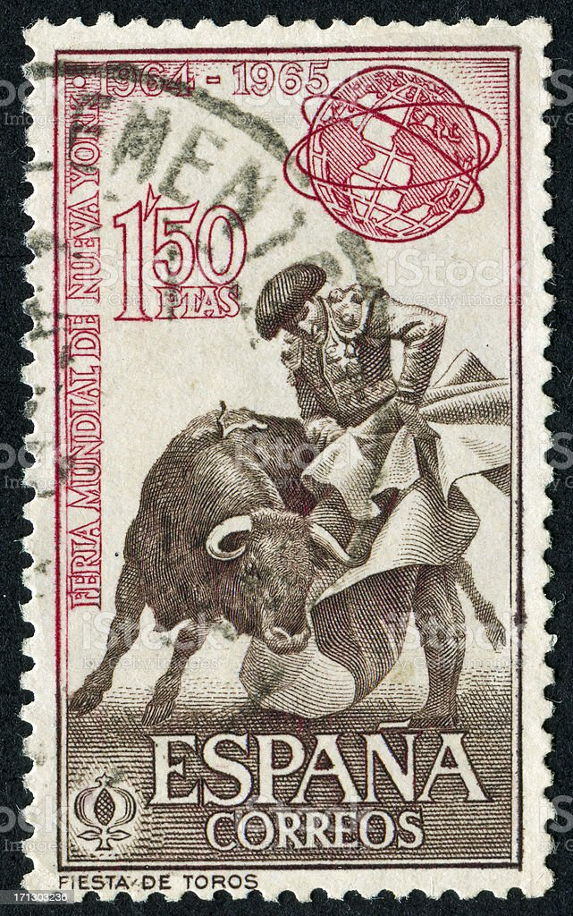 Bullfighting Stamp stock photo