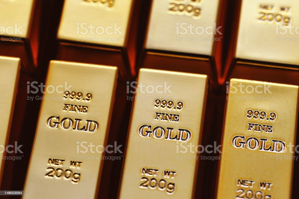 Goldbarren stock photo