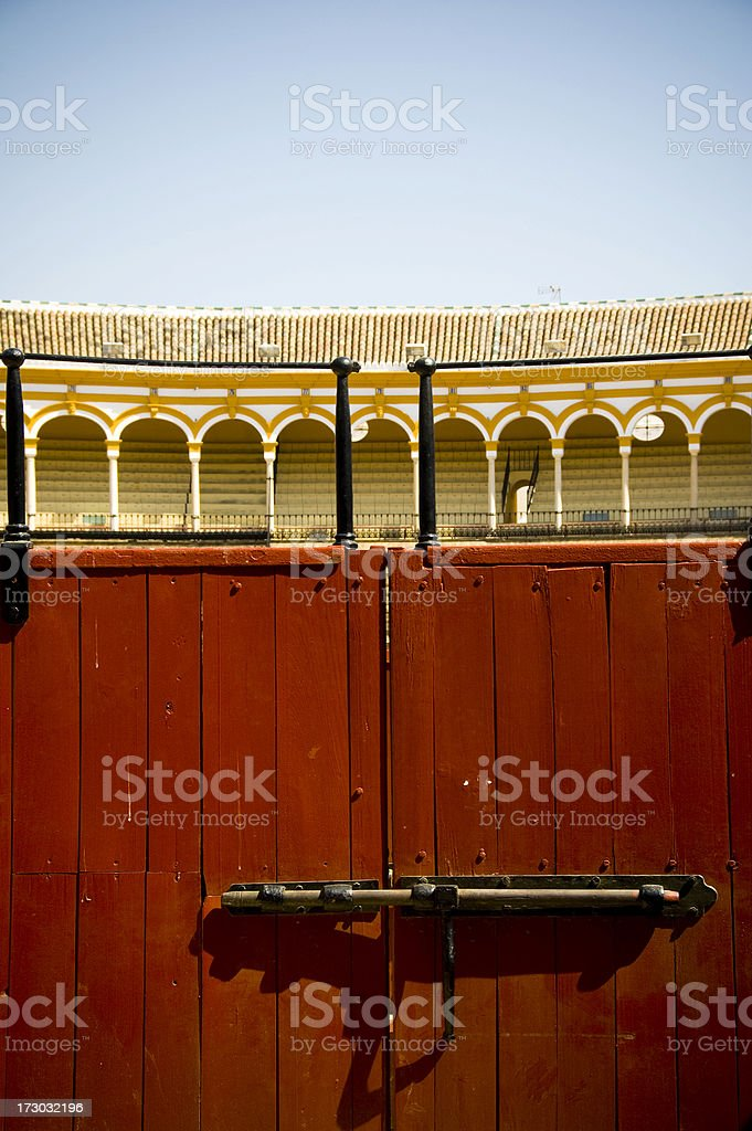 Bullring Seville Spain wooden gate red royalty-free stock photo