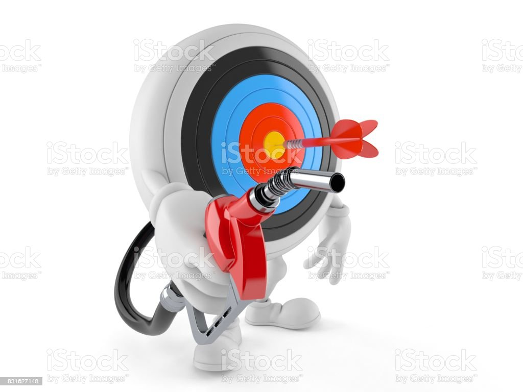 Bull's eye character holding gasoline nozzle stock photo