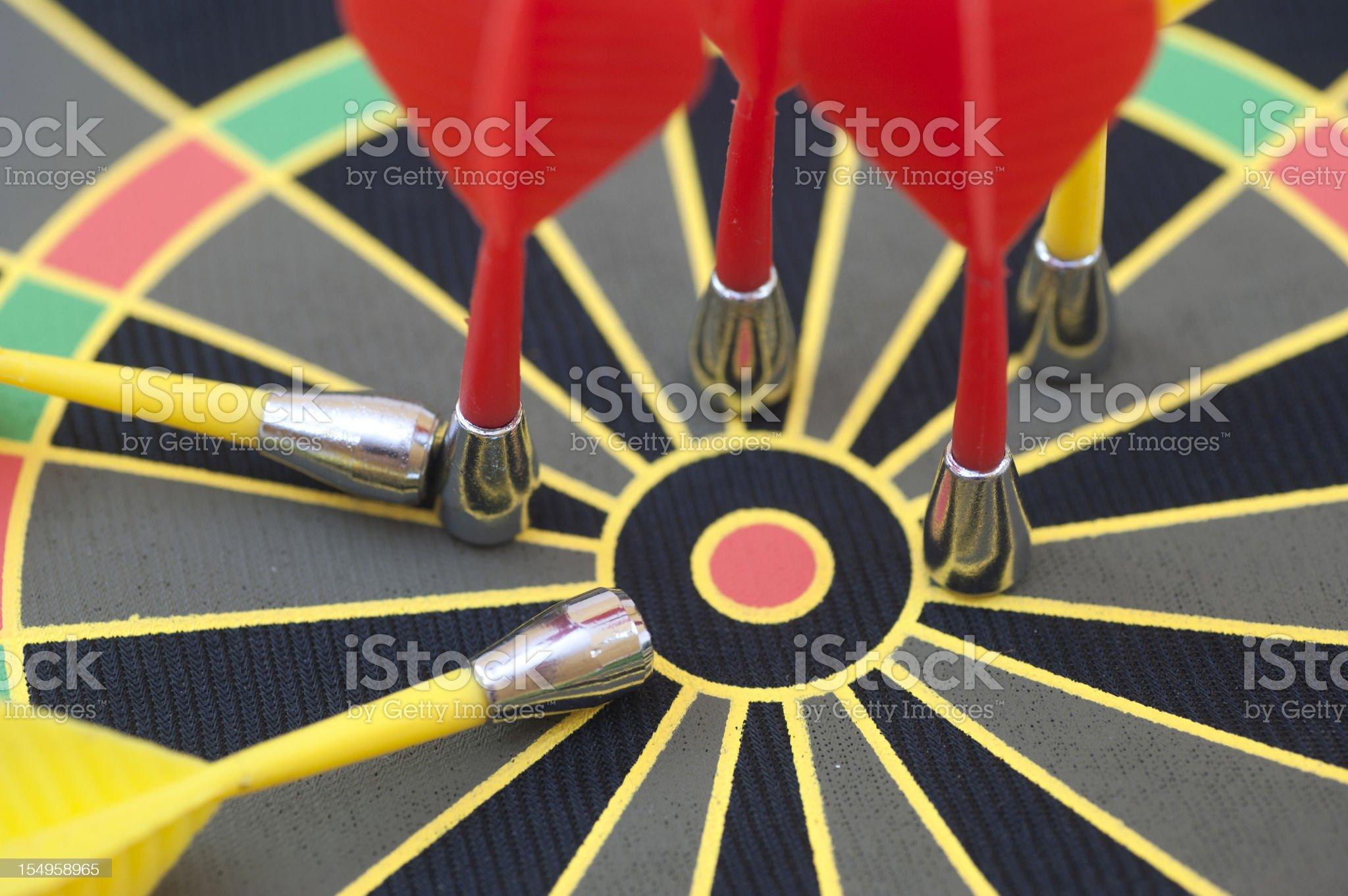bulls eye on magentic dartboard royalty-free stock photo