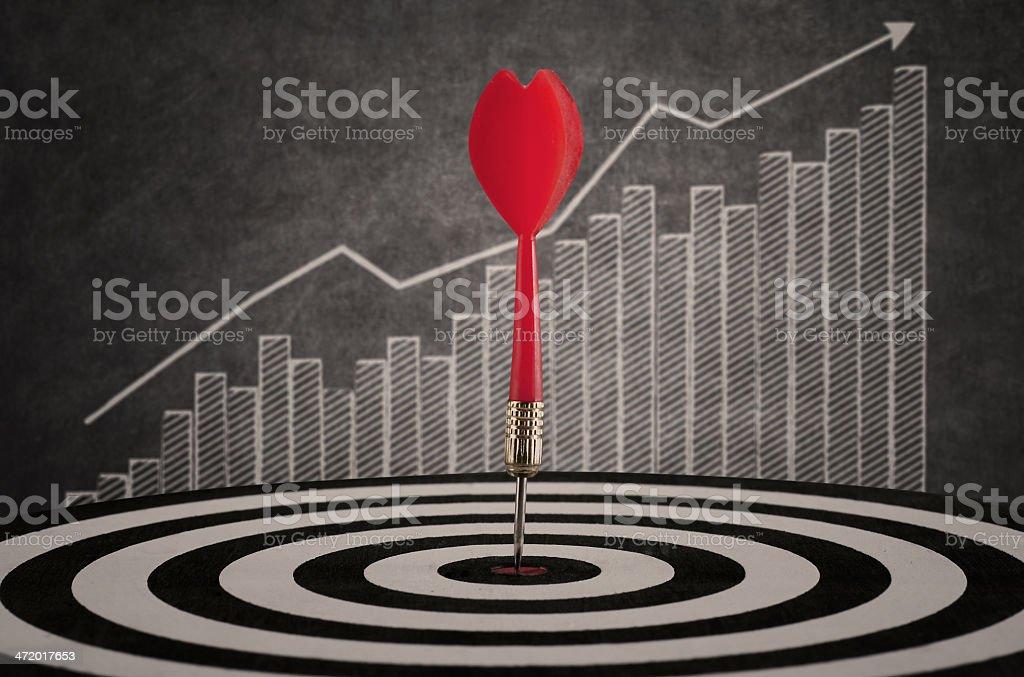Bulls-eye hit target in dart board on profit bar chart stock photo