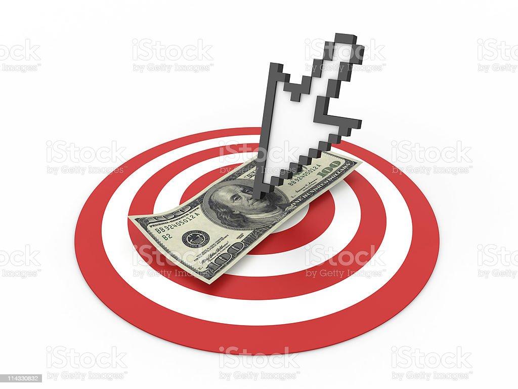 Bull's-Eye with Cursor and Dollar Bill stock photo