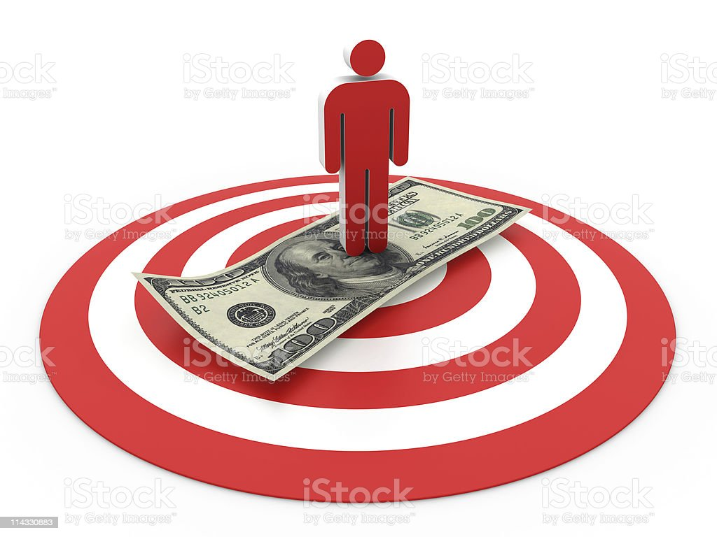 Bull's-Eye with People and Dollar Bill royalty-free stock photo