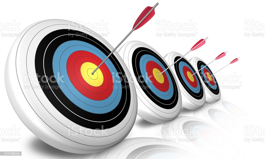 bullseyes in a  row royalty-free stock photo