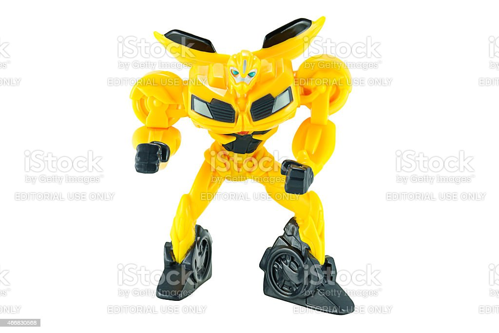 Bumble bee plastic toy character stock photo